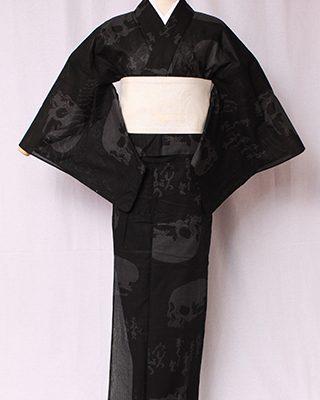 画家金子國義デザイン「Kuniyoshi KANEKO」の代表作。古典かつロックテイストな定番品。中村勘九郎さん、hydeさん等、愛用される柄。絽素材使用。