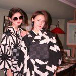 京都のレンタル着物京呉館で着物をレンタルしてくださったおしゃれなお客様。お二人でモノクローコーデでモードにかっこよく