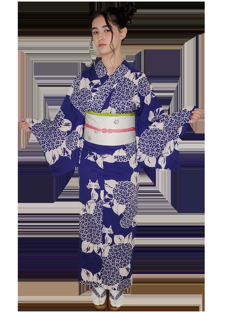 ゑでゐEdyhゆかた×注染工房コラボ 紫陽花にゑでゐEdyh 藍